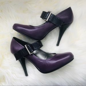 Andrea Purple Leather Mary Jane Pumps size 8.5